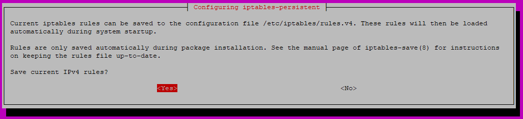 iptables-persistent installation: ipv4 table save query