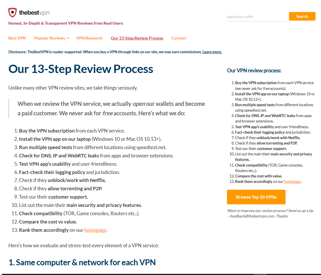 TheBestVPN.com Review Process