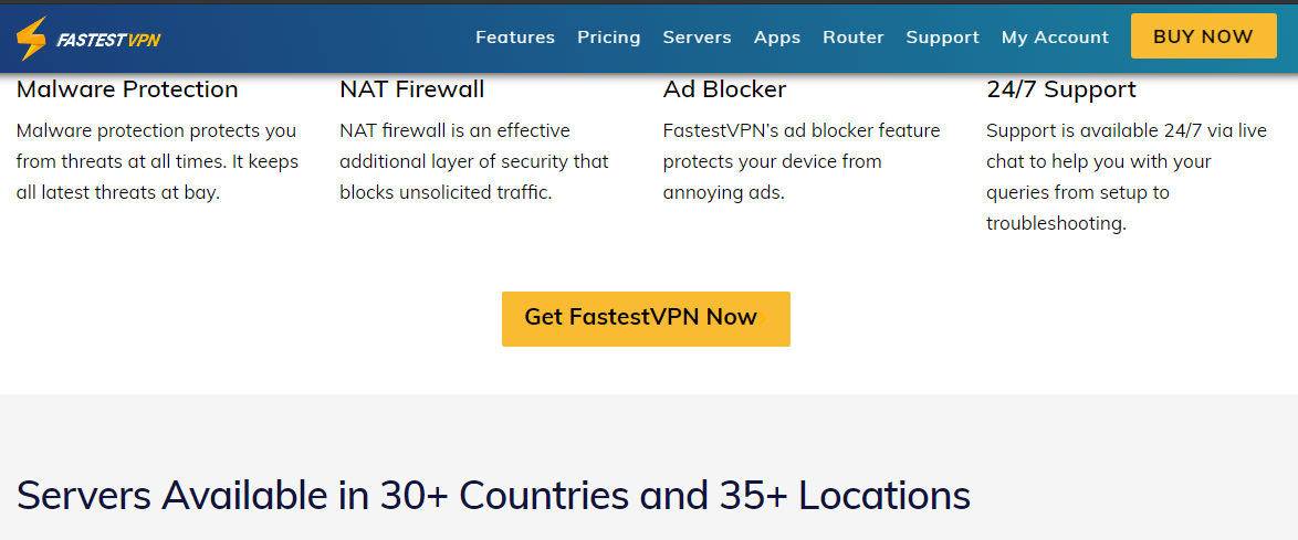 Fastest VPN's website version of where it's servers are