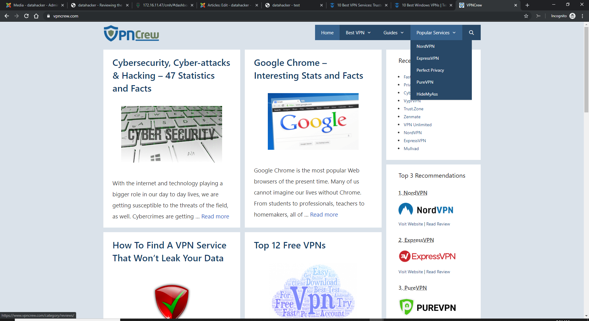 VPN Crew's website has the look and feel of an automated marketing blog